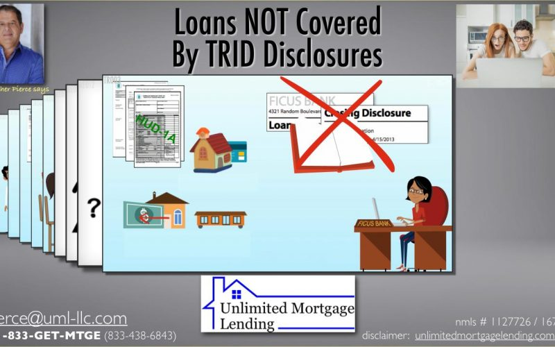 Loans NOT Covered By TRID Disclosures